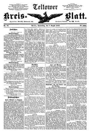 Teltower Kreisblatt vom 08.08.1889
