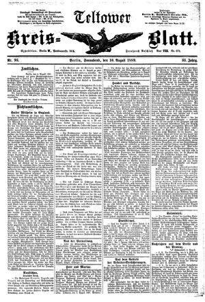 Teltower Kreisblatt vom 10.08.1889