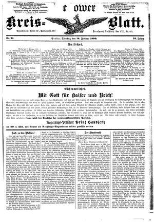 Teltower Kreisblatt vom 18.02.1890