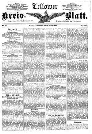 Teltower Kreisblatt vom 26.04.1890