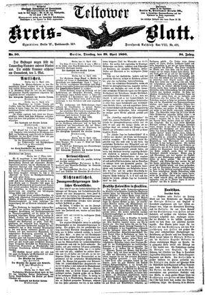 Teltower Kreisblatt vom 29.04.1890