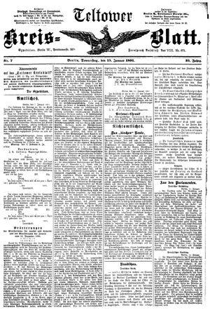 Teltower Kreisblatt vom 15.01.1891