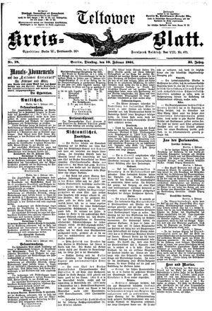 Teltower Kreisblatt vom 10.02.1891