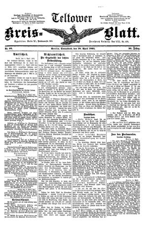 Teltower Kreisblatt vom 18.04.1891