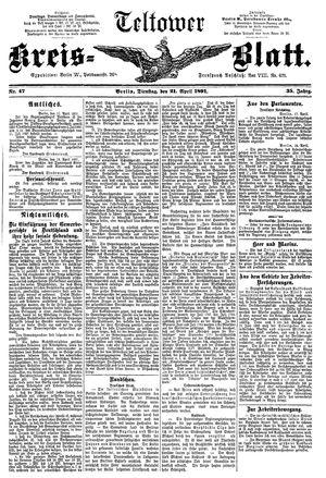 Teltower Kreisblatt vom 21.04.1891