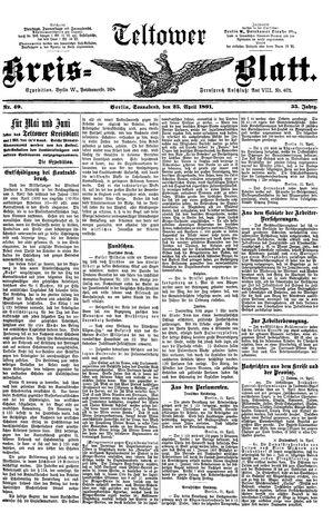 Teltower Kreisblatt vom 25.04.1891