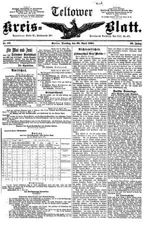 Teltower Kreisblatt vom 28.04.1891