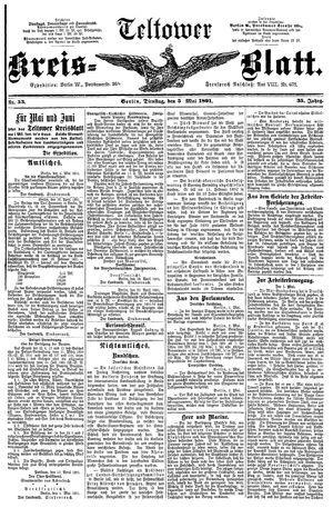 Teltower Kreisblatt on May 5, 1891