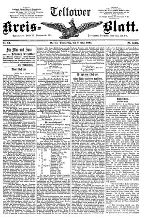 Teltower Kreisblatt vom 07.05.1891