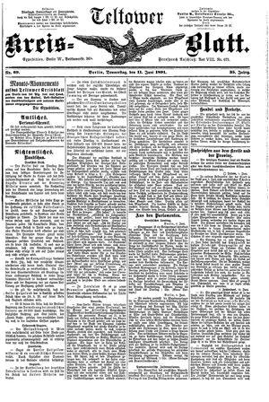 Teltower Kreisblatt vom 11.06.1891