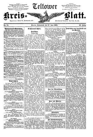 Teltower Kreisblatt on Jun 27, 1891
