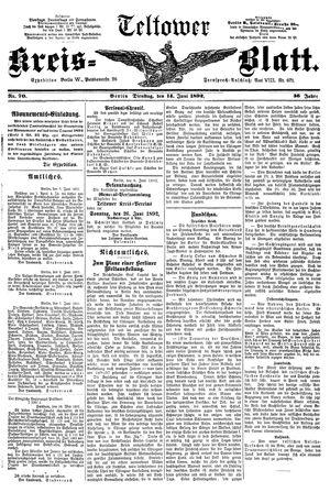 Teltower Kreisblatt vom 14.06.1892