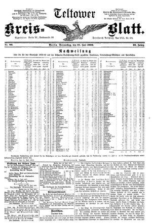 Teltower Kreisblatt vom 21.07.1892