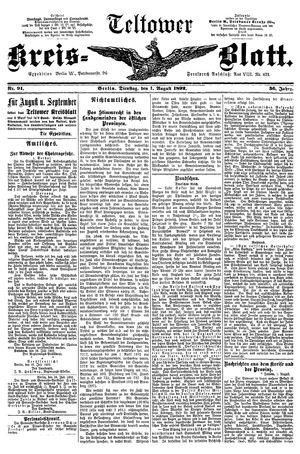Teltower Kreisblatt vom 01.08.1892