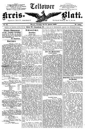Teltower Kreisblatt vom 31.01.1893