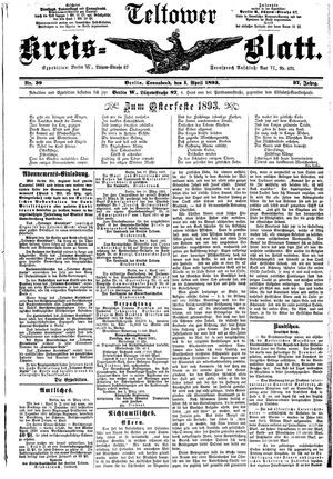 Teltower Kreisblatt vom 01.04.1893