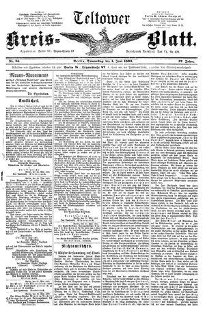 Teltower Kreisblatt vom 01.06.1893