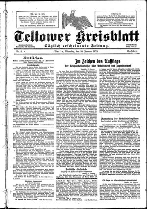 Teltower Kreisblatt vom 10.01.1933