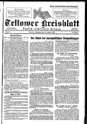 Teltower Kreisblatt vom 18.01.1933