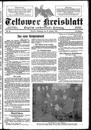 Teltower Kreisblatt vom 31.01.1933
