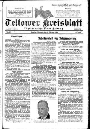 Teltower Kreisblatt vom 01.02.1933