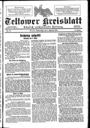 Teltower Kreisblatt vom 02.02.1933