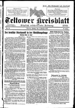 Teltower Kreisblatt vom 03.02.1933