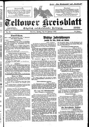 Teltower Kreisblatt vom 10.02.1933