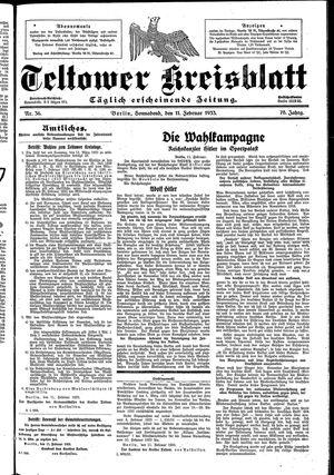 Teltower Kreisblatt vom 11.02.1933