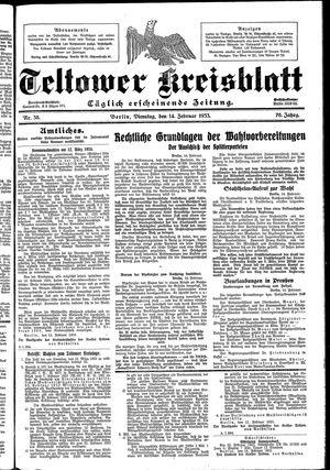 Teltower Kreisblatt vom 14.02.1933