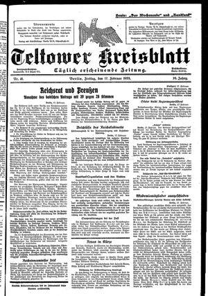 Teltower Kreisblatt vom 17.02.1933