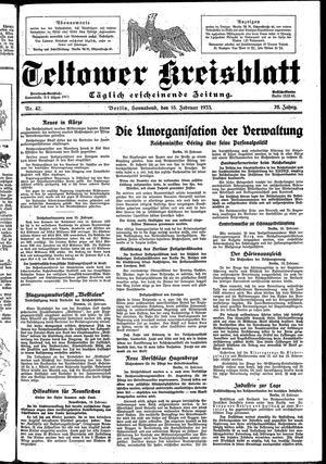 Teltower Kreisblatt vom 18.02.1933