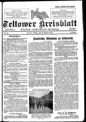 Teltower Kreisblatt vom 20.02.1933