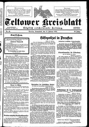 Teltower Kreisblatt vom 25.02.1933