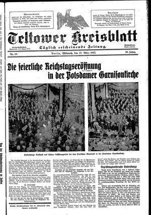 Teltower Kreisblatt vom 22.03.1933