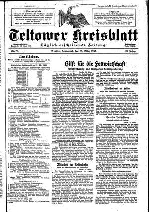 Teltower Kreisblatt vom 25.03.1933