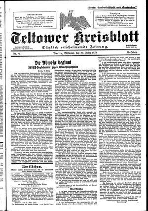Teltower Kreisblatt vom 29.03.1933