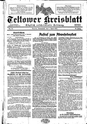 Teltower Kreisblatt vom 01.04.1933