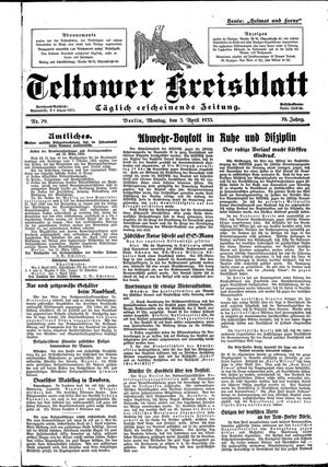 Teltower Kreisblatt on Apr 3, 1933