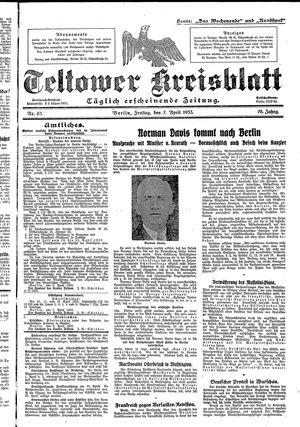 Teltower Kreisblatt vom 07.04.1933
