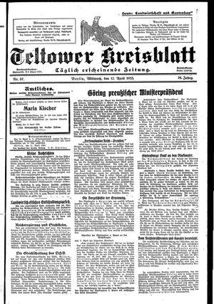 Teltower Kreisblatt vom 12.04.1933