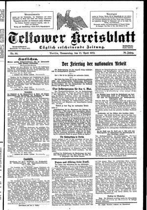 Teltower Kreisblatt vom 13.04.1933