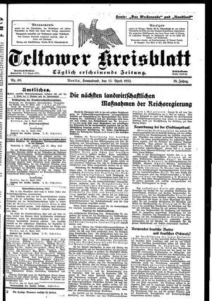 Teltower Kreisblatt vom 15.04.1933