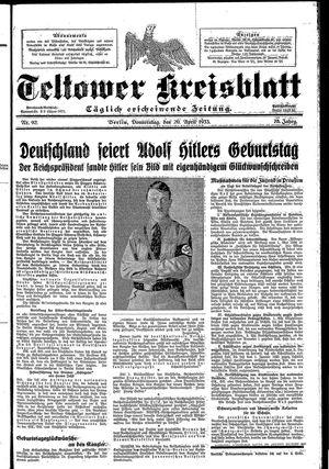 Teltower Kreisblatt vom 20.04.1933