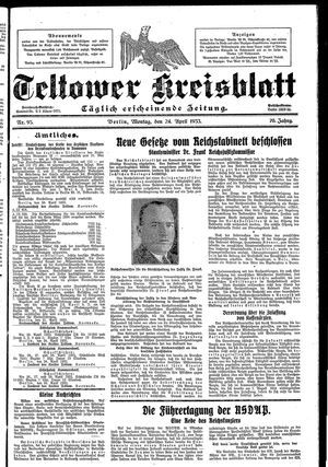Teltower Kreisblatt vom 24.04.1933