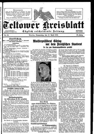 Teltower Kreisblatt vom 27.04.1933
