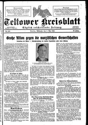 Teltower Kreisblatt vom 03.05.1933