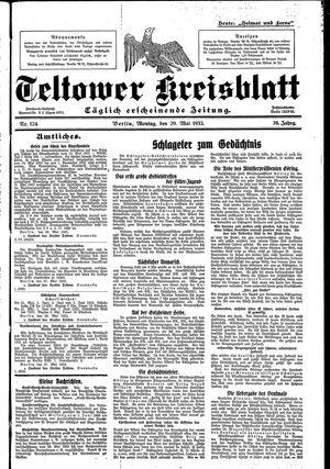 Teltower Kreisblatt vom 29.05.1933