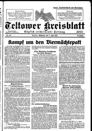 Teltower Kreisblatt vom 07.06.1933
