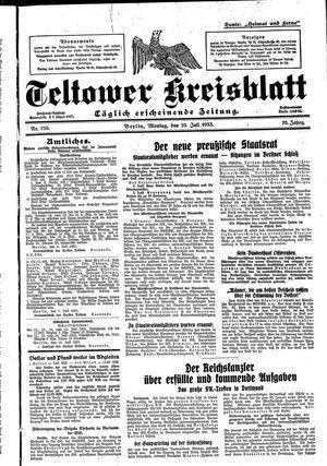 Teltower Kreisblatt vom 10.07.1933